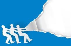 Team work torn paper concept. Three male silhouettes ripping paper background. Vector available Stock Photo