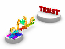 Team work for Trust. 3D rendered stick figure : Team work for trust Stock Photos