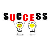 Team work. Two businessman hold success together Stock Photo