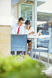 Team work. Two office workers creating together Stock Photo