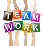 Team work. Vector illustration of hands holding team work Royalty Free Stock Image