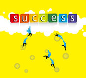 Team work : The way to success. Six businessman try to climb to success Stock Photography