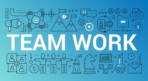 Team work word trendy composition concept banner. Outline stroke office, coworking, brainstorming vector illustration. Team work word trendy composition concept stock illustration
