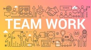 Team work word trendy composition concept banner. Outline stroke teamwork, creative group, leadership, community office vector illustration