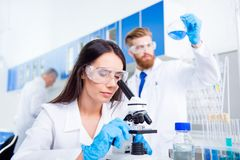 Team work. Young lab worker in safety glasses is analysing the s. Ample in the microscope. She is in a labcoat, in the middle of experiment Stock Photos