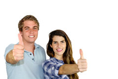 Team Work. A young men and women showing victory and positiveness with their fingers Stock Photography