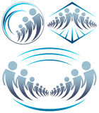 Team workers. Abstract illustrated team workers logo design set Royalty Free Stock Photo