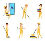Team workers of cleaning service. Set of different characters in special clothing Royalty Free Stock Photos