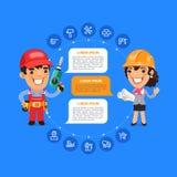 Team Working Cartoon Builders Royalty-vrije Stock Foto
