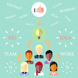 Team Working Concept in Flat Style. Royalty Free Stock Photo