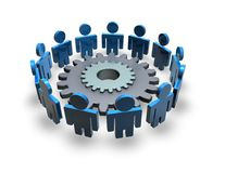 Team working, cooperation and connection abstract concept with 3d blue people and gear. Isolated illustration Stock Photography