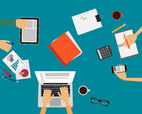 Team working at desk Royalty Free Stock Photos