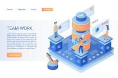 Team working landing page isometric vector template stock photography