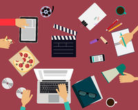 The team is working in the movie studios Royalty Free Stock Photo