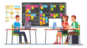 Team working together on a big IT startup business. Programming and planning. Scrum task board hanging in a team room full of tasks on sticky note cards. Flat stock illustration