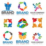 Team working together. Group of People. team work. logo vector. royalty free illustration
