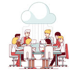Team working together on IT startup business. Cloud service team working and talking together on a IT startup business at a big conference desk. Teamwork Royalty Free Stock Photography