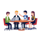 Team working together on a IT startup business. Team working and talking together on a IT startup business. Strategy planning meeting. Flat style vector Stock Photos