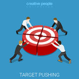 Team works to reach goal teamwork flat isometric vector 3d Royalty Free Stock Photography