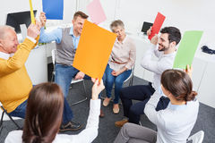 Team in workshop for teambuilding. Team in creative workshop for teambuilding and success Royalty Free Stock Photo