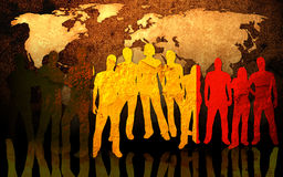 Team and world map Stock Photos