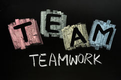 Team written in colorful chalk Royalty Free Stock Photo