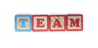 Team written with letter wooden cubes Stock Photography