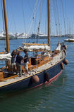 Team on the yacht and old sailing ship detail. Every two years a lot of  sailing old boats and classic yachts are arrives in the harbour of Imperia, Liguria in Stock Photography