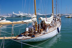 Team on the yacht and old sailing ship detail. Every two years a lot of  sailing old boats and classic yachts are arrives in the harbour of Imperia, Liguria in Royalty Free Stock Photo