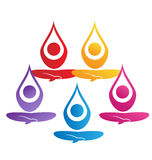Team of yoga people logo Stock Photos