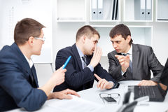Team of young business men working together Royalty Free Stock Photos