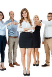 Team of young business people mobbing bullying collegue Stock Photography