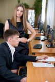 The team of young businessmen works at office Royalty Free Stock Photos