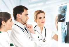 A team of young Caucasian doctors holding x-rays Royalty Free Stock Photos