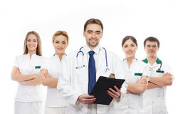 A team of young Caucasian doctors in white clothes Stock Image