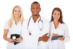 Team of young medical professionals. All on white background stock images