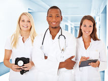 Team of young medical professionals. In hospital royalty free stock photography