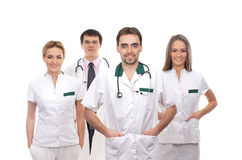 A team of young medical workers in white clothes Royalty Free Stock Photo