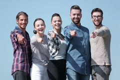 Team of young people showing hands forward Royalty Free Stock Image