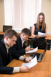 Team of young people works with documents Stock Photo