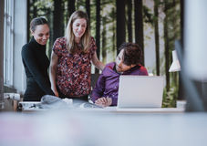 Team of young professionals viewing a catalogue Royalty Free Stock Image