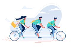 Team with young woman, man with beard and student riding a bike. stock illustration