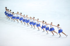 Team Zagreb Snowflakes Senior in der Linie Stockfoto