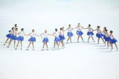 Team Zagreb Snowflakes Senior i en linje Royaltyfri Bild