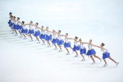 Team Zagreb Snowflakes Senior i linjen Arkivfoto