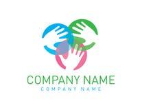 Teamarbeit übergibt Logo Stock Abbildung