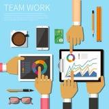 Teamarbeit flach Stockfoto
