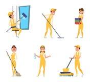 Teamarbeitskräfte des Reinigungsservices Satz verschiedene Charaktere in der speziellen Kleidung stock abbildung