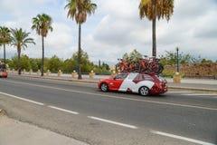 Teamauto in der Aktion am La Vuelta Lizenzfreies Stockfoto