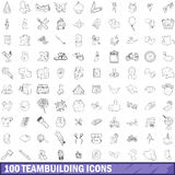 100 teambuilding icons set, outline style Royalty Free Stock Image